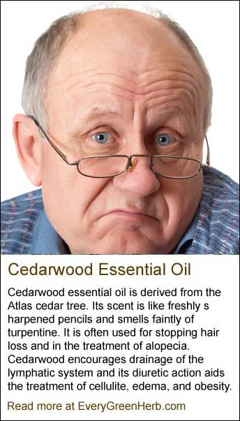 Cedarwood essential oil can help stop hair loss