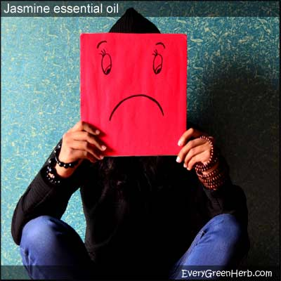 Sad person with frown needs jasmine essential oil