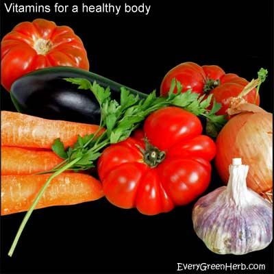 Fresh vegetables and fruits are full of vitamins.